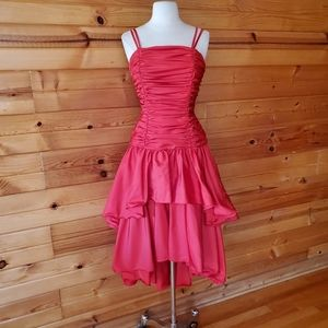 1980s Mike Benet Formals Red High Low Party Dress